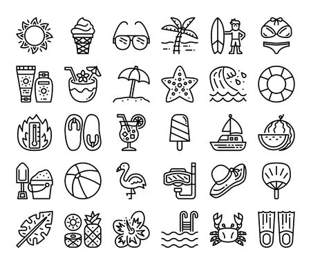 summer outline vector icons summer and vacation concept
