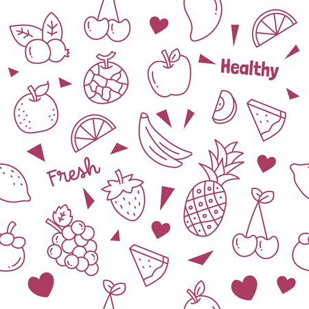 fruits doodle seamless pattern vector background