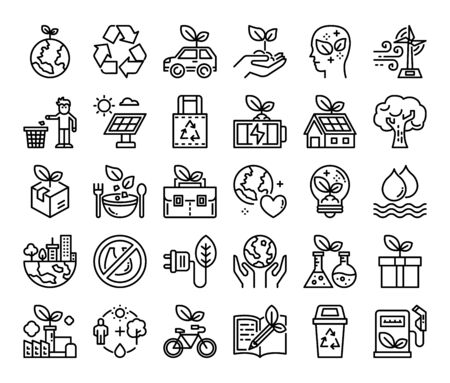 ecology outline vector icons save the earth concept