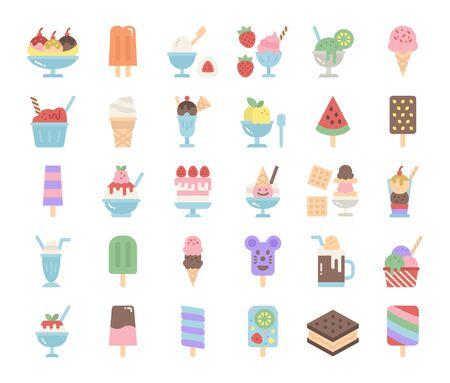 ice cream menu flat vector icons sweet and dessert food