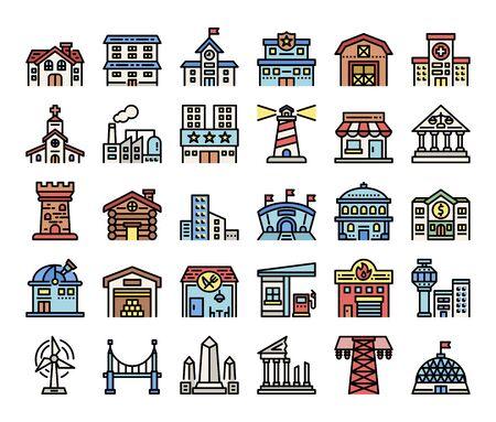 building color outline vector icons construction concept