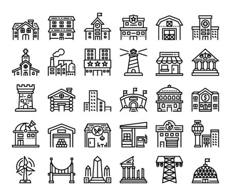 building outline vector icons construction concept