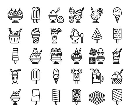 ice cream menu outline vector icons sweet and dessert food 矢量图像