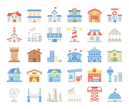 building flat vector icons construction concept