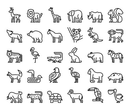 wild animals outline vector icons safari and jungle concept