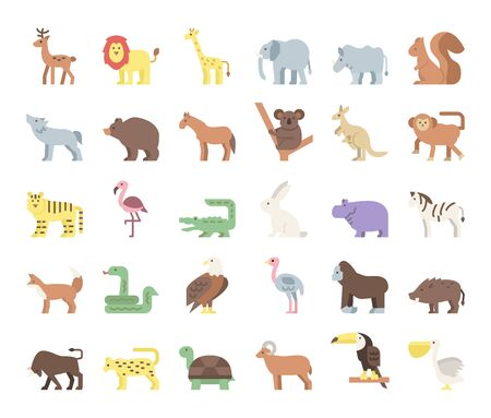 wild animals flat vector icons safari and jungle concept Illustration