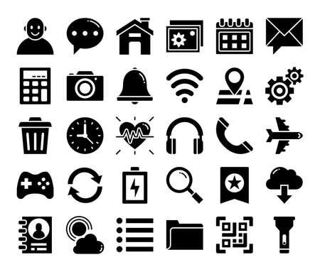 mobile user interface glyph vector icons pixel perfect Vektorgrafik
