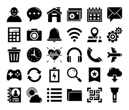 mobile user interface glyph vector icons pixel perfect Vetores