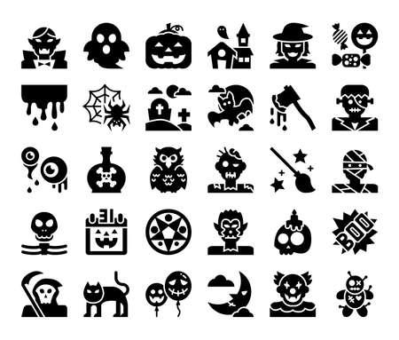 happy halloween glyph vector icons pixel perfect