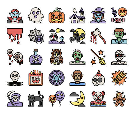 happy halloween color outline vector icons pixel perfect