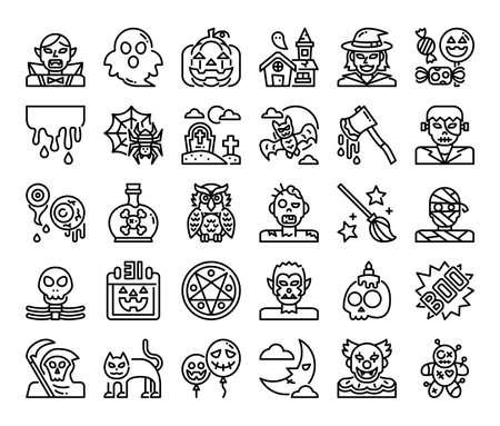 happy halloween outline vector icons pixel perfect