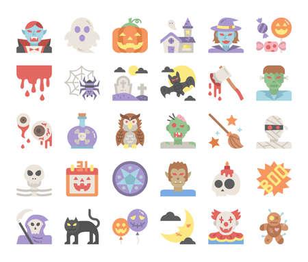happy halloween flat vector icons pixel perfect Illusztráció