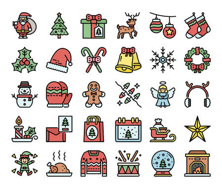 merry christmas color outline vector icons pixel perfect
