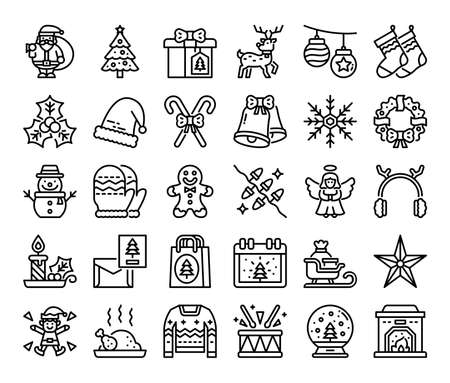merry christmas outline vector icons pixel perfect