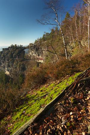 spacial: Natural sandstone gate in natioanl park Bohemian Switzerland