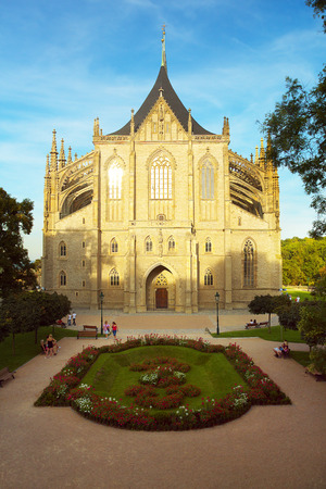 architectural architectonic: In front of the Saint Barbara Cathedral, town of Kutna Hora, Bohemia