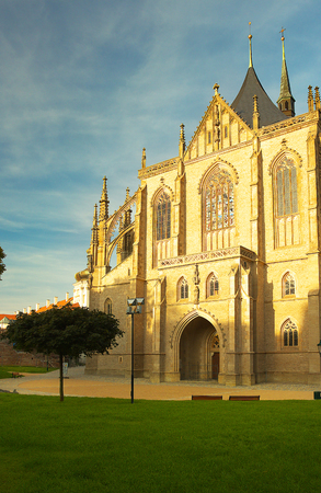 In front of the Saint Barbara Cathedral, town of Kutna Hora, Bohemia