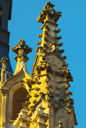 Gothic elements on the Saint Barbara Cathedral in town of Kutna Hora, Bohemia Stock Photo