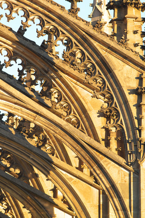architectural architectonic: Gothic elements on the Saint Barbara Cathedral in town of Kutna Hora, Bohemia Stock Photo
