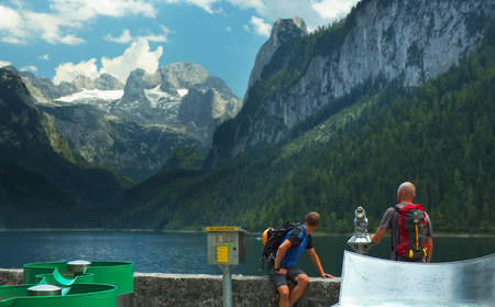 View of a Gosau Lake with Dachstein Group on background
