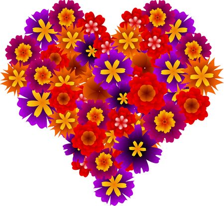 Graphic illustration with color blossoms in a shape of heart