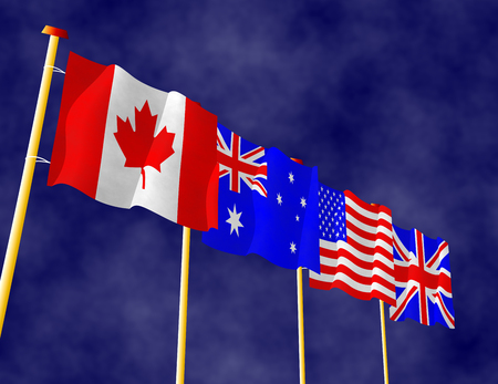 canadian flag: Four flags of English speaking countries on the flagpoles