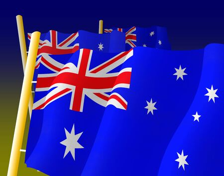 hymn: Australian flags on the flagpoles