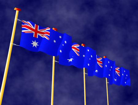 flagpoles: Australian flags on the flagpoles