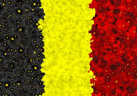 Illustration of Belgian flag with color flowers