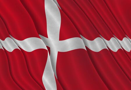 hymn: Illustration of a flying Danish Flag Stock Photo