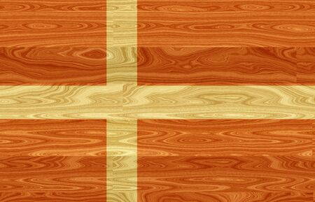 danish flag: Illustration of a Danish Flag painted on a woody boards