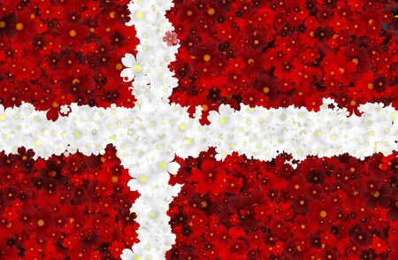 hymn: Illustration of Danish Flag with blossoms scattered around