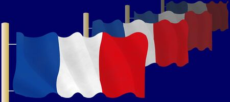 hymn: Illustration of a flying French Flags on the flagpoles Stock Photo