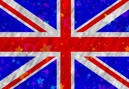 hymn: Illustration of British Flag with stars end hearts scattered around