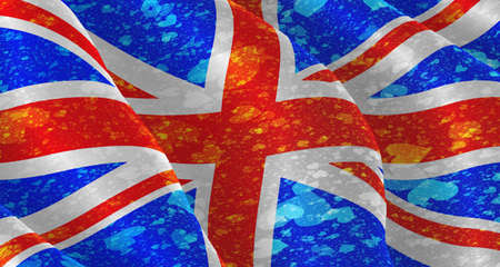 hymn: Illustration of a flying British Flag with hearts scattered around Stock Photo