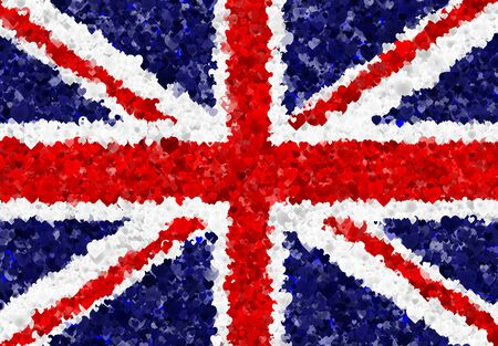 Illustration of a Britishn Flag with hearts scattered around