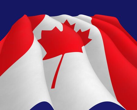hymn: Illustration of a flying Canadian Flag, view up