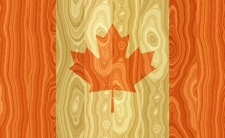 hymn: Illustration of a Canadian Flag painted on woody board