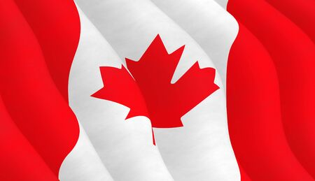 hymn: Illustration of a flying Canadian Flag Stock Photo