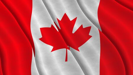 Illustration of a flying Canadian Flag Stock Photo