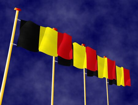 hymn: Flying Belgian flags on the flagpoles Stock Photo