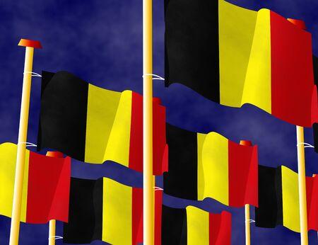 flagpoles: Flying Belgian flags on the flagpoles Stock Photo