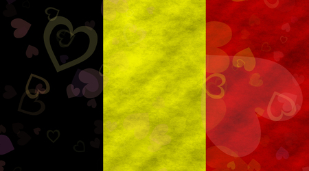 hymn: Illustration of a Belgian Flag with hearts scattered around