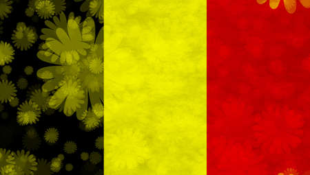 hymn: Illustration of a Belgian Flag with blossoms scattered around