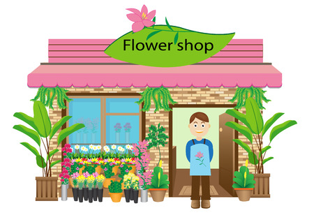 cartoon bouquet: Flower shop