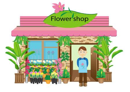 flor caricatura: Tienda de flores Vectores