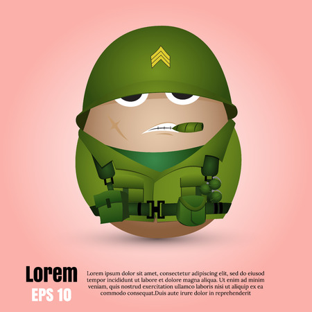 easter egg: Happy easter day.egg soldier from vector