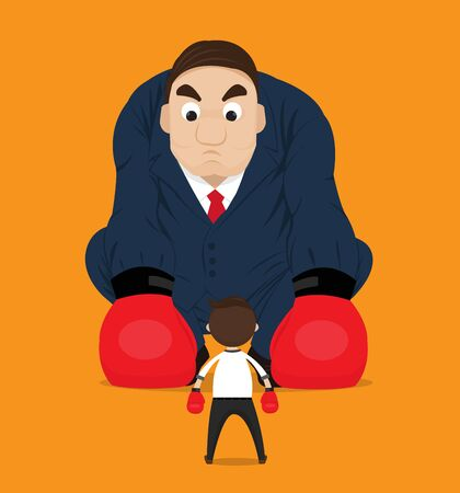 Businessman have the courage to fight the giant.businessman boxing against a big boss.