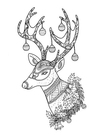 tangle: Merry Christmas from vector.Reindeer by hand drawing.Merry Christmas in 2016.Reindeer tangle for coloring.