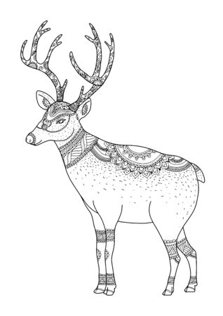 Merry Christmas from vector.Reindeer on white background.Merry Christmas in 2016.Reindeer tangle for coloring.
